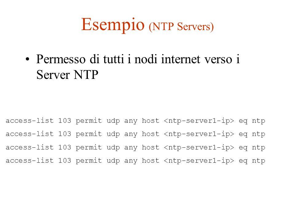 Esempio (NTP Servers) Permesso di tutti i nodi internet verso i Server NTP.