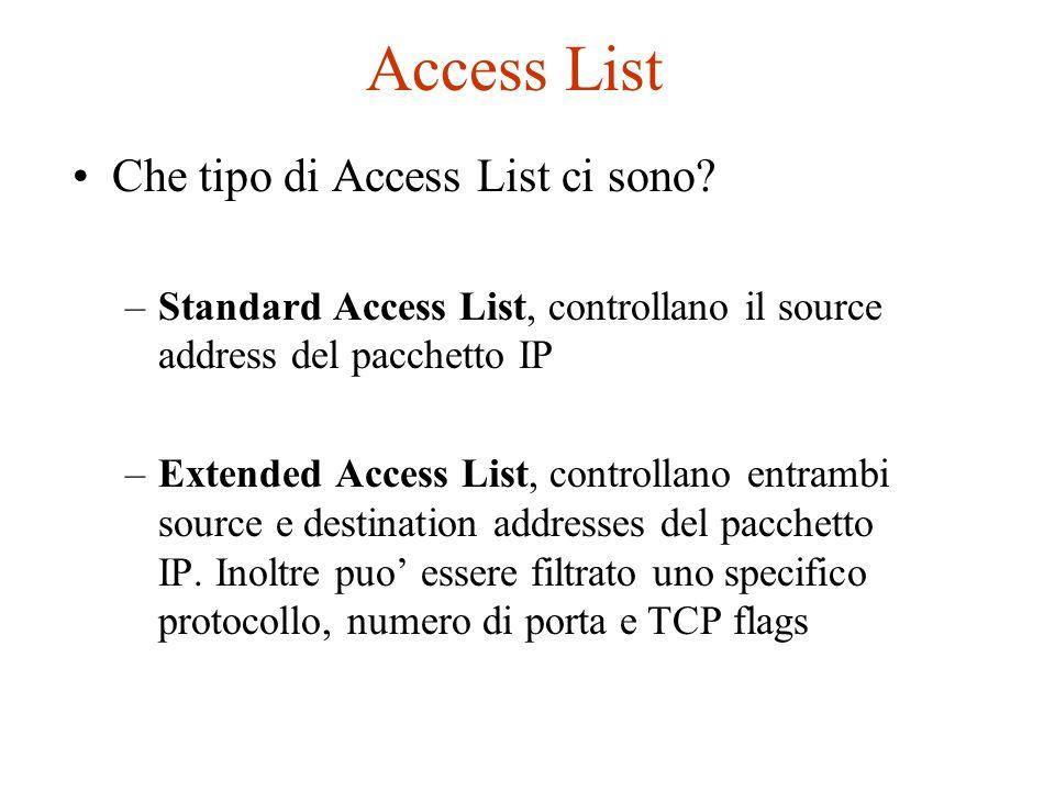 Access List Che tipo di Access List ci sono