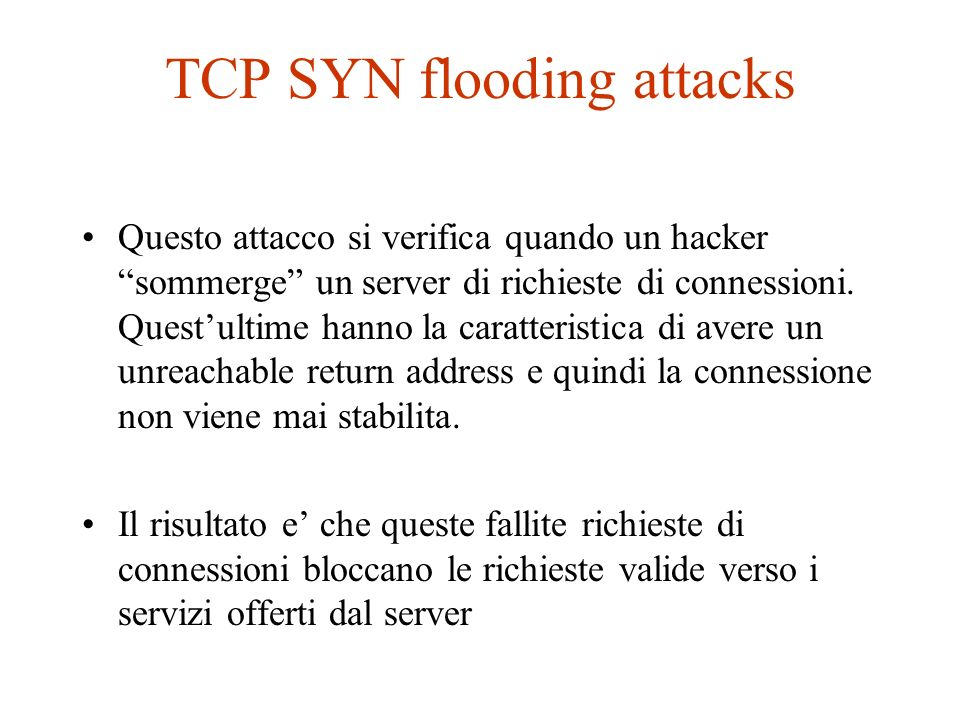 TCP SYN flooding attacks