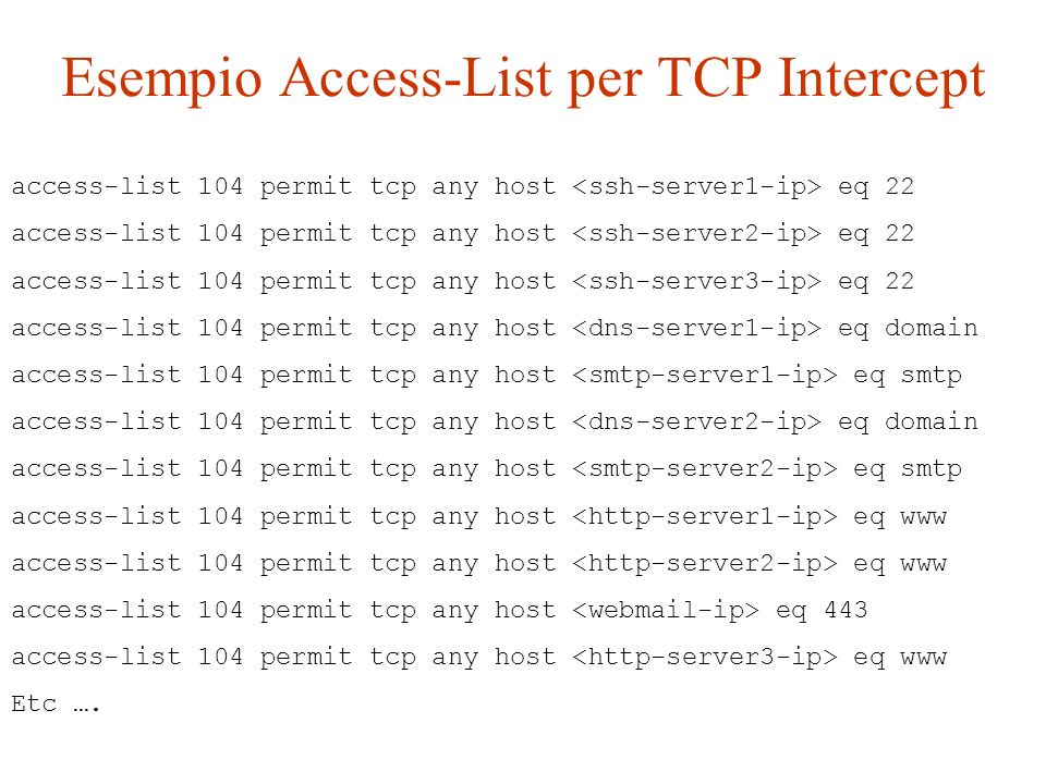 Esempio Access-List per TCP Intercept