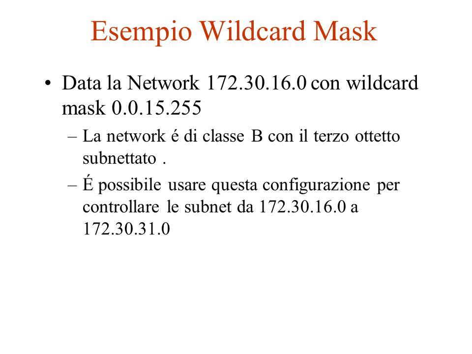 Esempio Wildcard MaskData la Network 172.30.16.0 con wildcard mask 0.0.15.255. La network é di classe B con il terzo ottetto subnettato .
