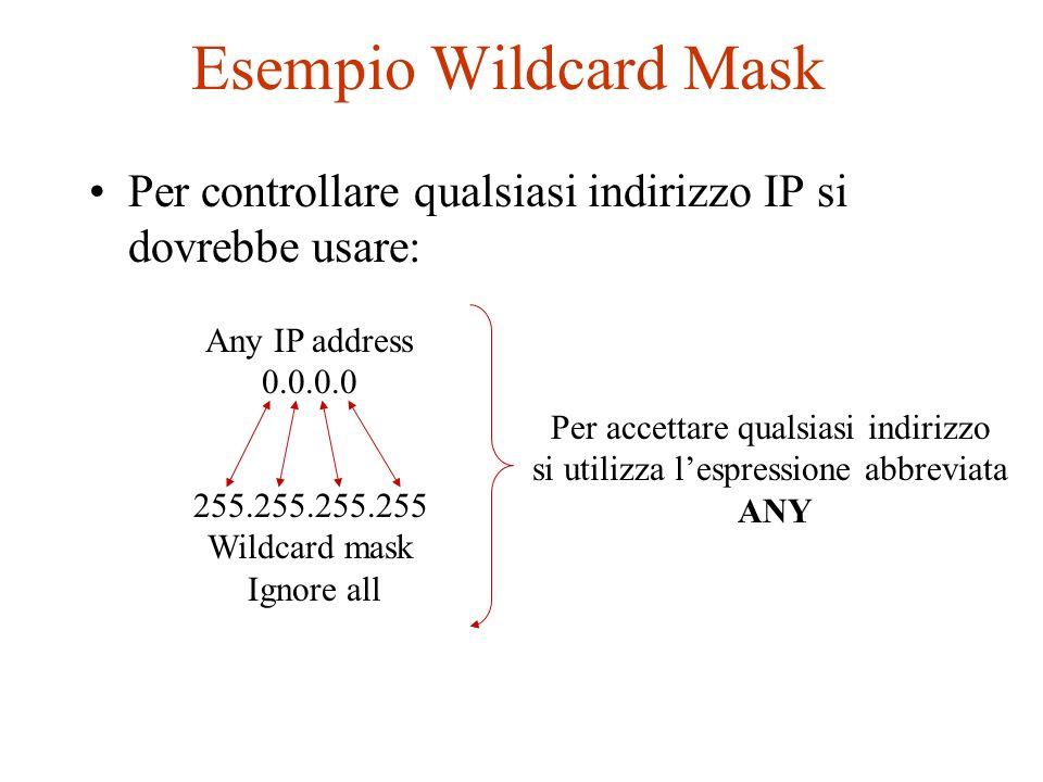 Esempio Wildcard MaskPer controllare qualsiasi indirizzo IP si dovrebbe usare: Any IP address. 0.0.0.0.