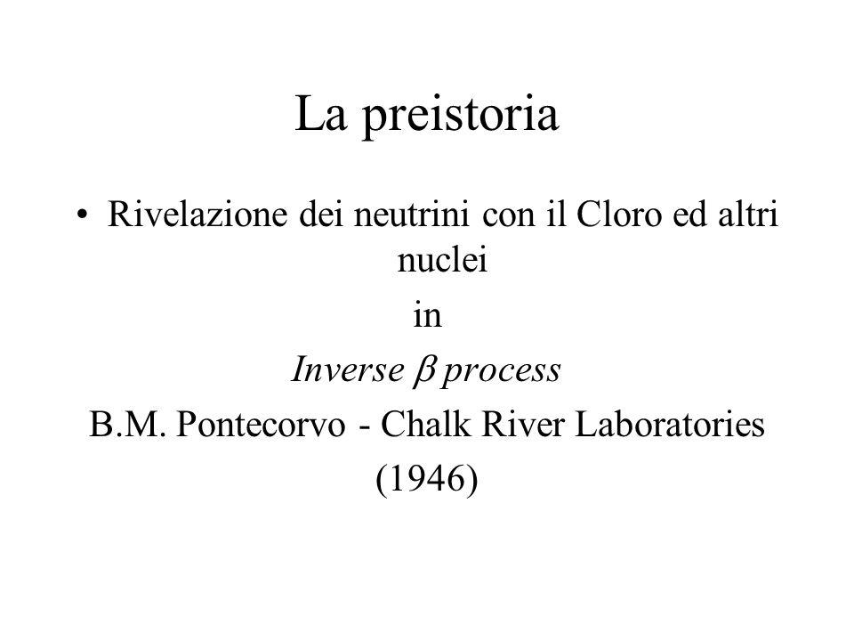 La preistoria Rivelazione dei neutrini con il Cloro ed altri nuclei in