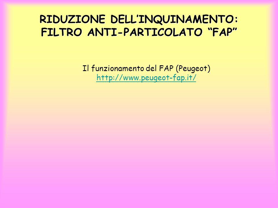 RIDUZIONE DELL'INQUINAMENTO: FILTRO ANTI-PARTICOLATO FAP