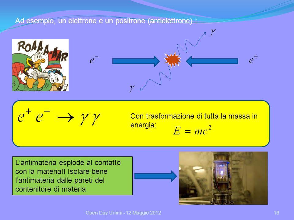 Ad esempio, un elettrone e un positrone (antielettrone) :