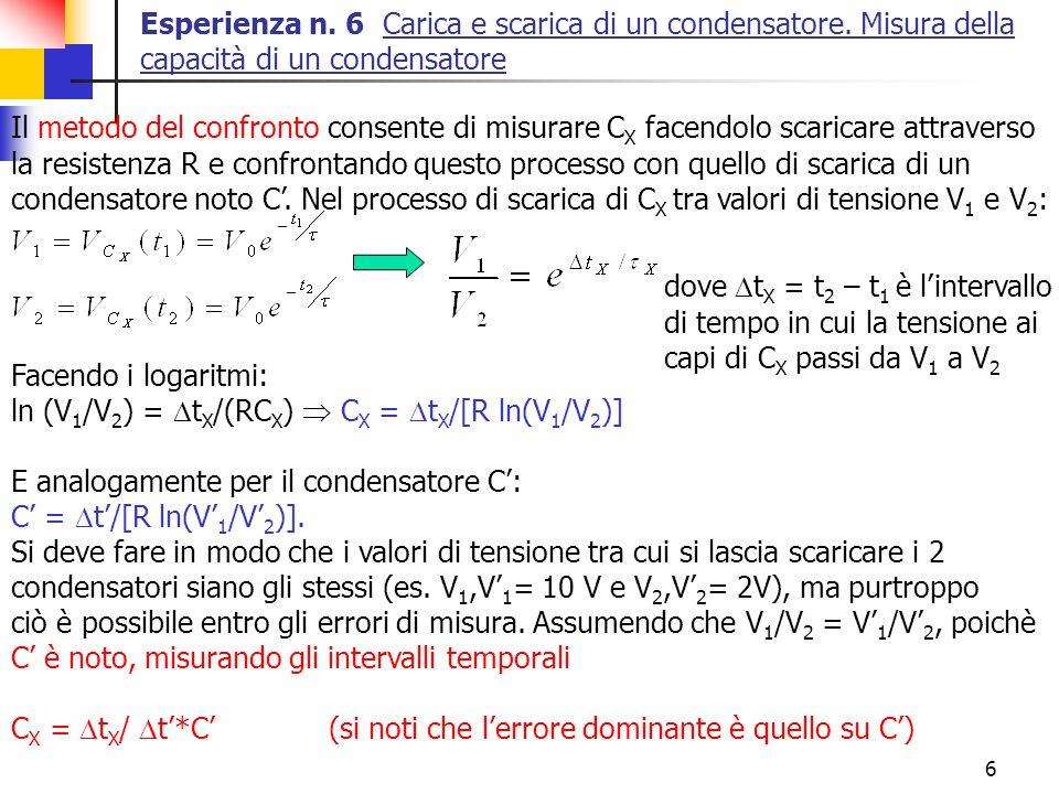 Esperienza n. 6 Carica e scarica di un condensatore