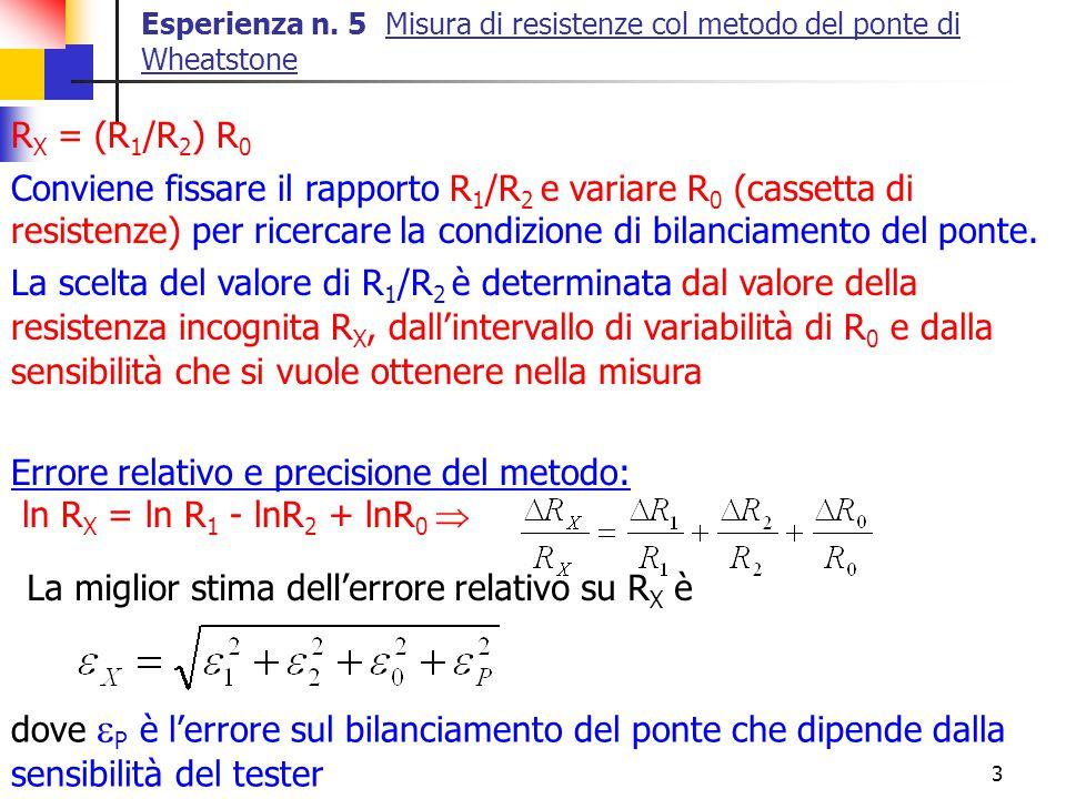 Errore relativo e precisione del metodo: ln RX = ln R1 - lnR2 + lnR0 