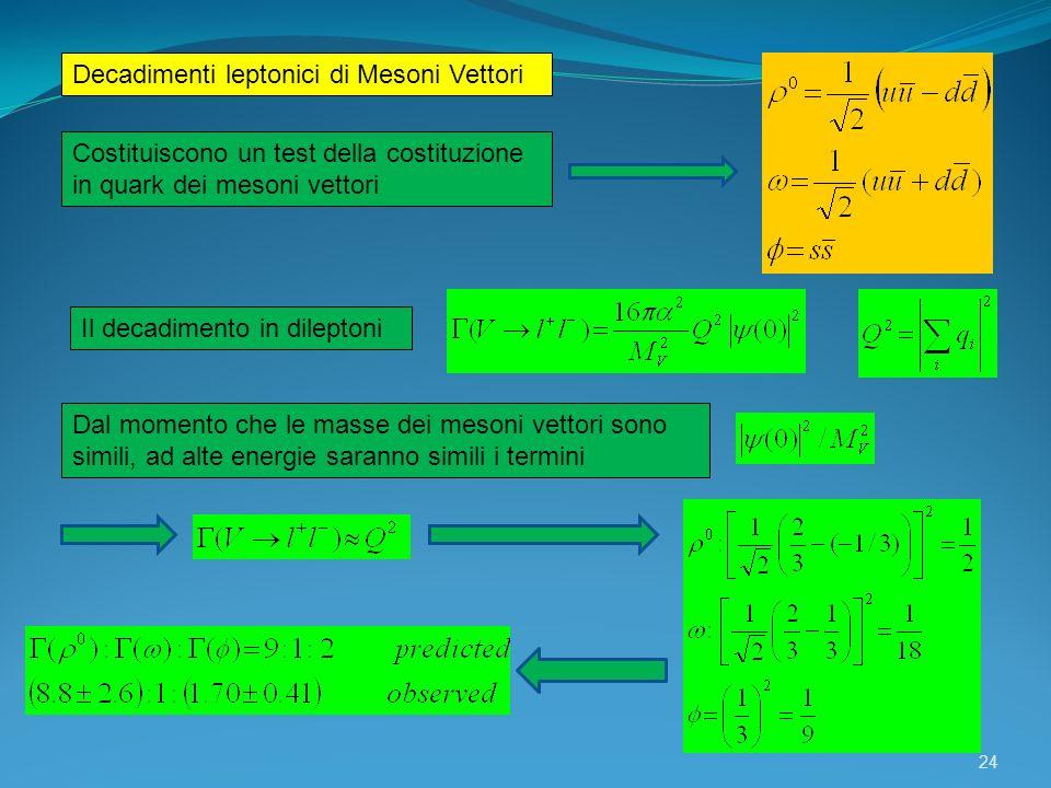 Decadimenti leptonici di Mesoni Vettori