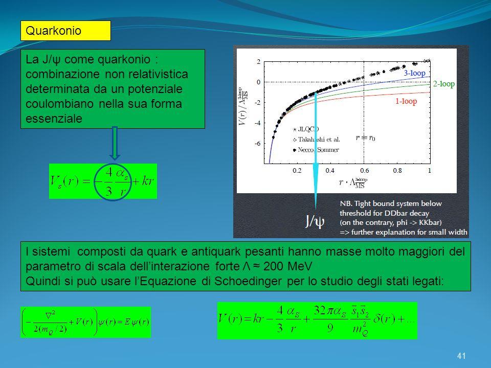 Quarkonio La J/ψ come quarkonio : combinazione non relativistica determinata da un potenziale coulombiano nella sua forma essenziale.