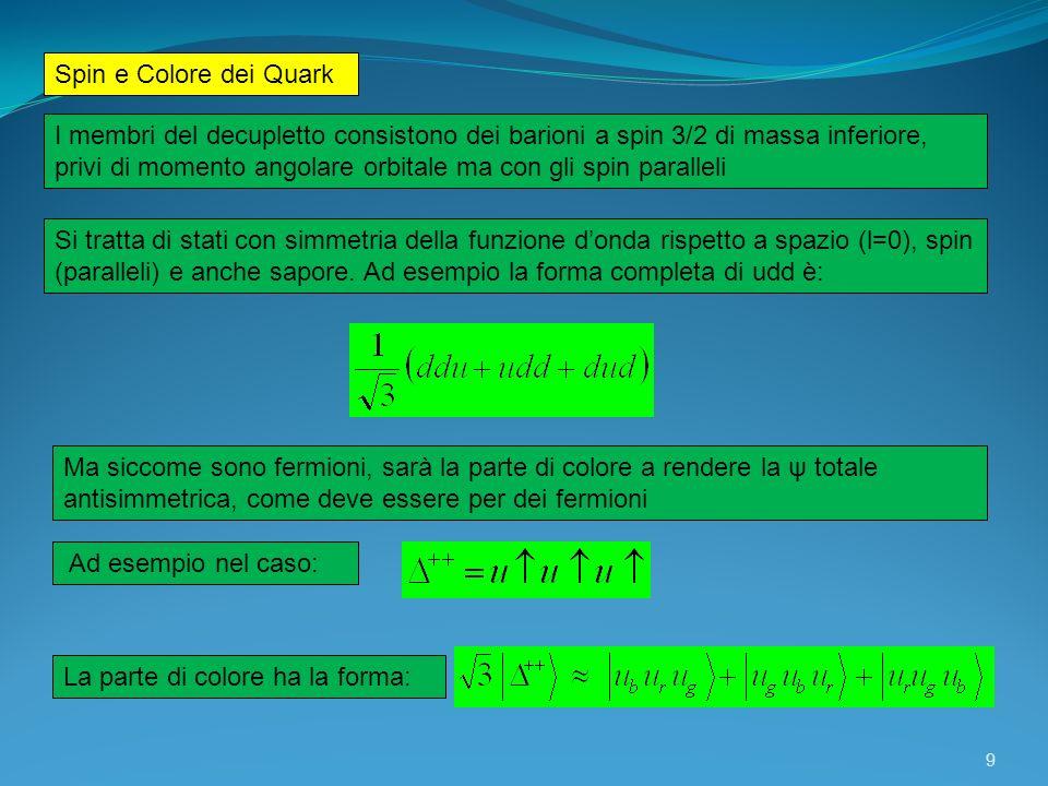 Spin e Colore dei Quark