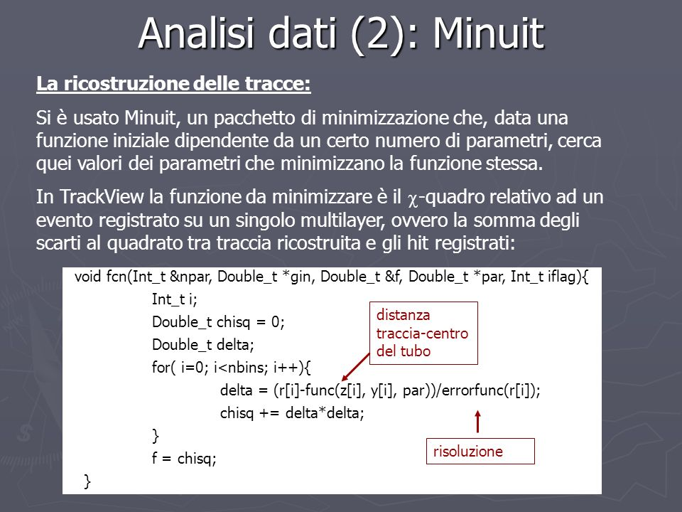 Analisi dati (2): Minuit