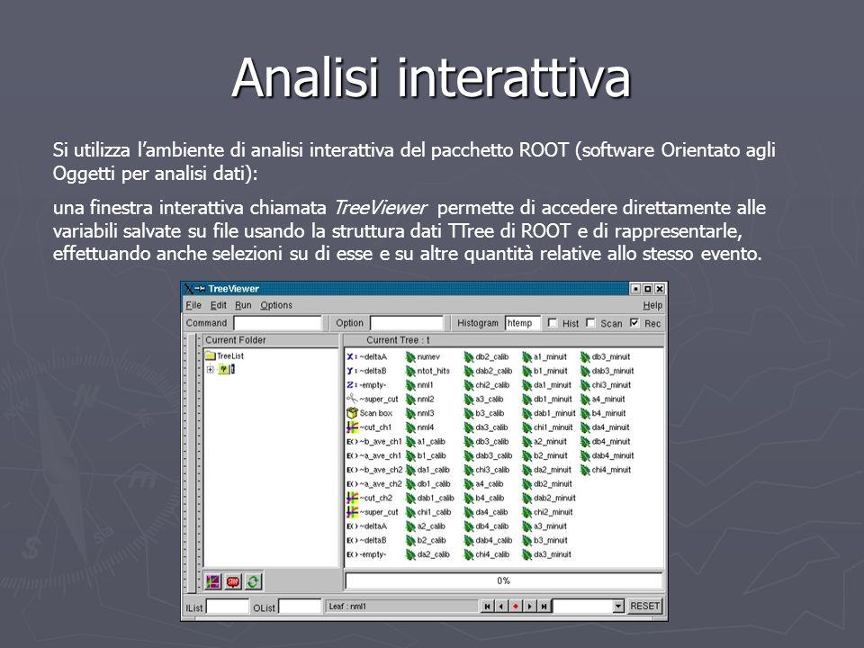 Analisi interattiva Si utilizza l'ambiente di analisi interattiva del pacchetto ROOT (software Orientato agli Oggetti per analisi dati):