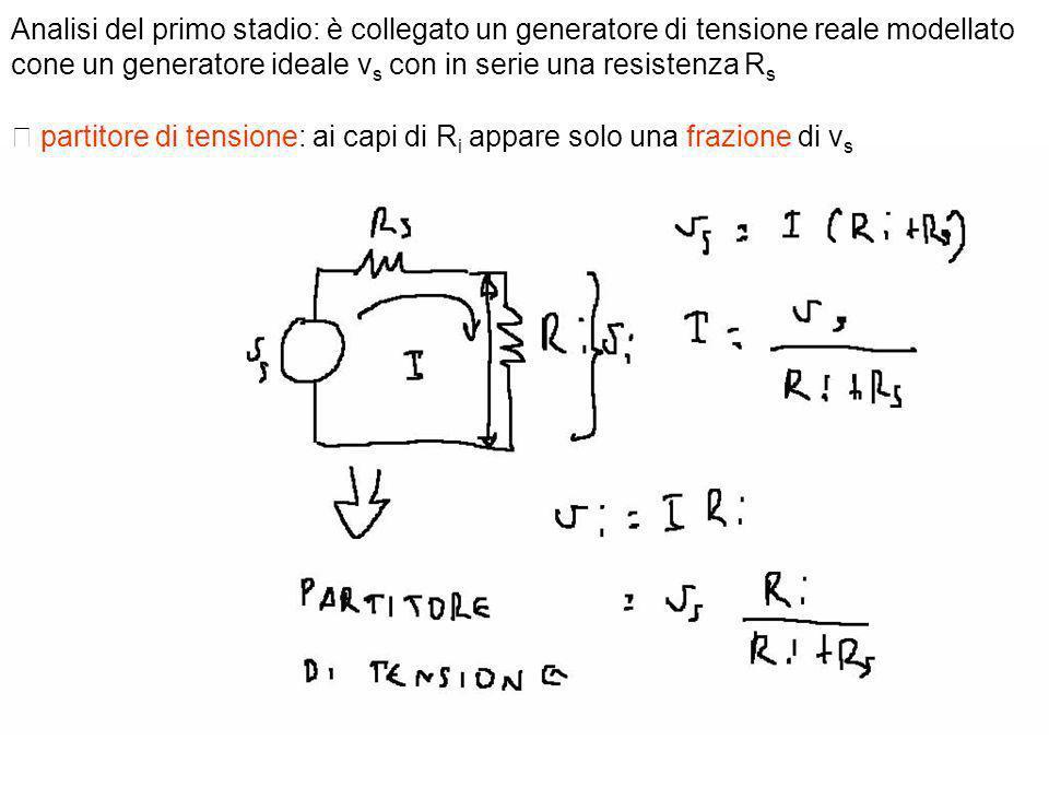 Analisi del primo stadio: è collegato un generatore di tensione reale modellato cone un generatore ideale vs con in serie una resistenza Rs