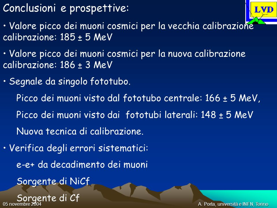 A. Porta, università e INFN, Torino