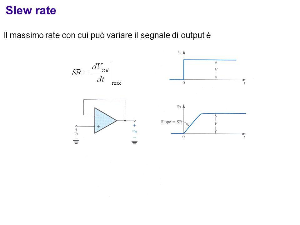 Slew rate Il massimo rate con cui può variare il segnale di output è
