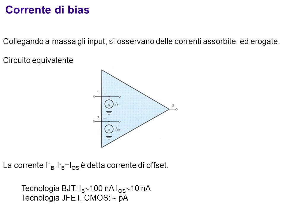 Corrente di bias Collegando a massa gli input, si osservano delle correnti assorbite ed erogate. Circuito equivalente.