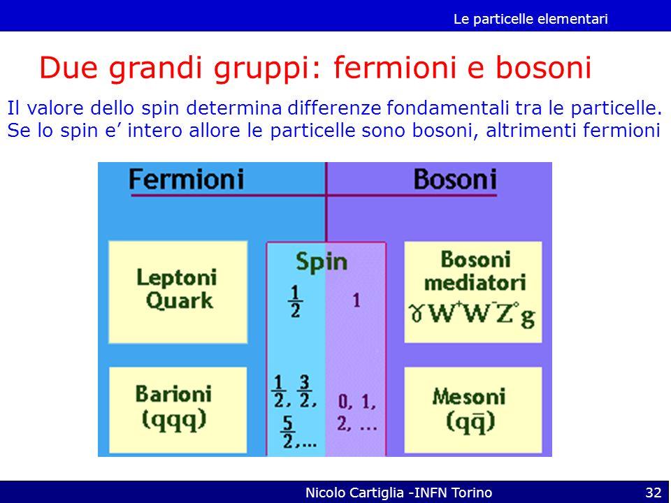 Due grandi gruppi: fermioni e bosoni