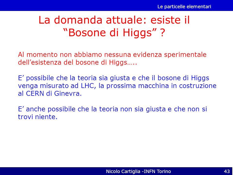 La domanda attuale: esiste il Bosone di Higgs