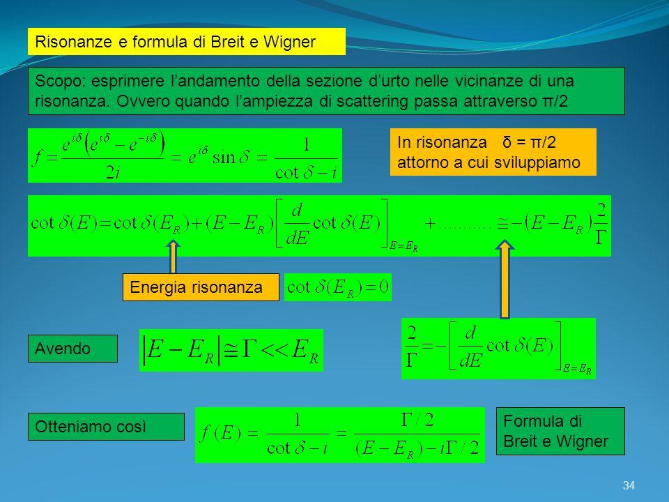 Risonanze e formula di Breit e Wigner