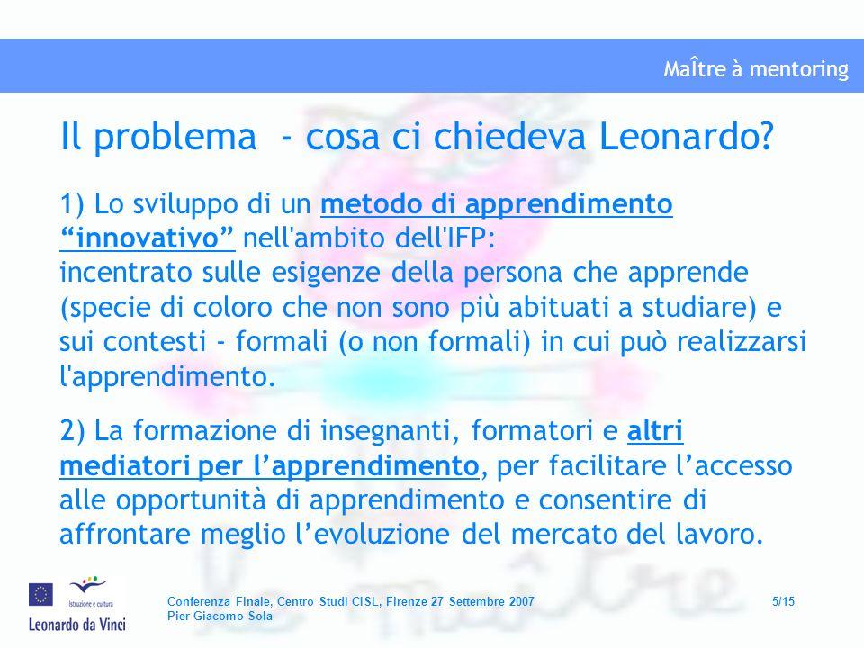 Il problema - cosa ci chiedeva Leonardo