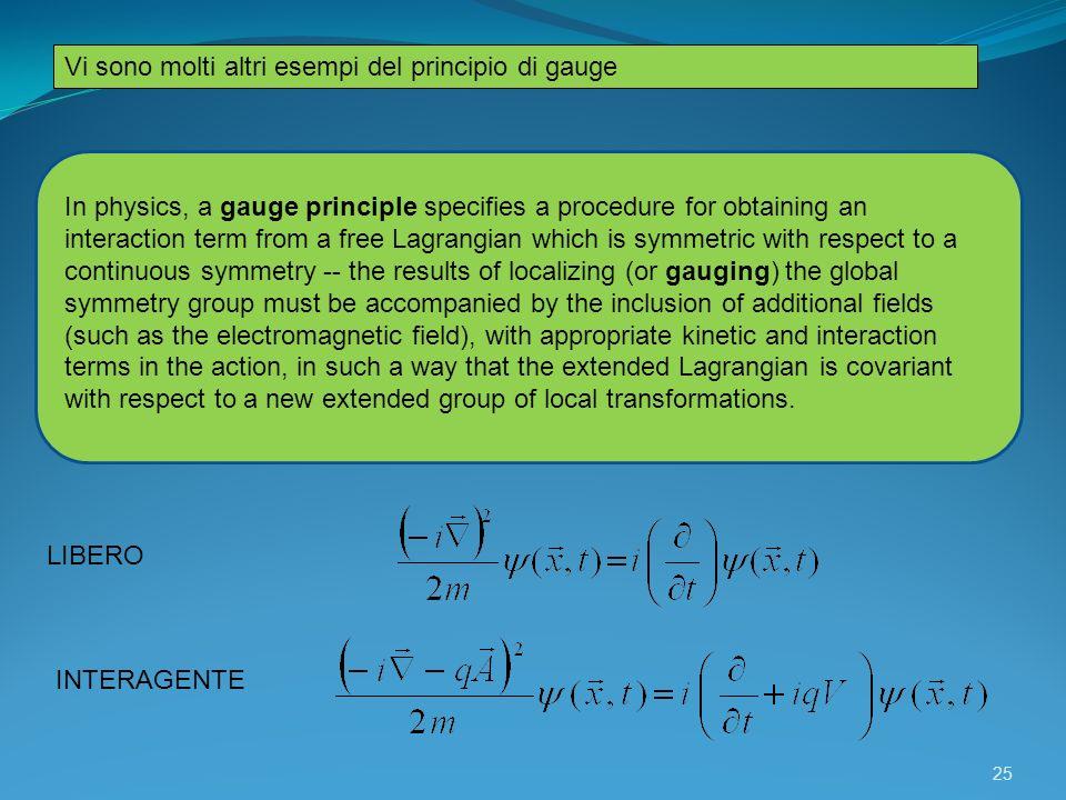 Vi sono molti altri esempi del principio di gauge