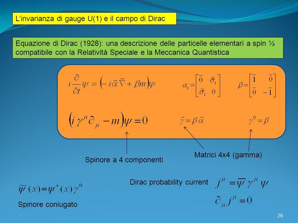 L'invarianza di gauge U(1) e il campo di Dirac