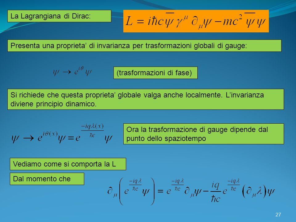 La Lagrangiana di Dirac: