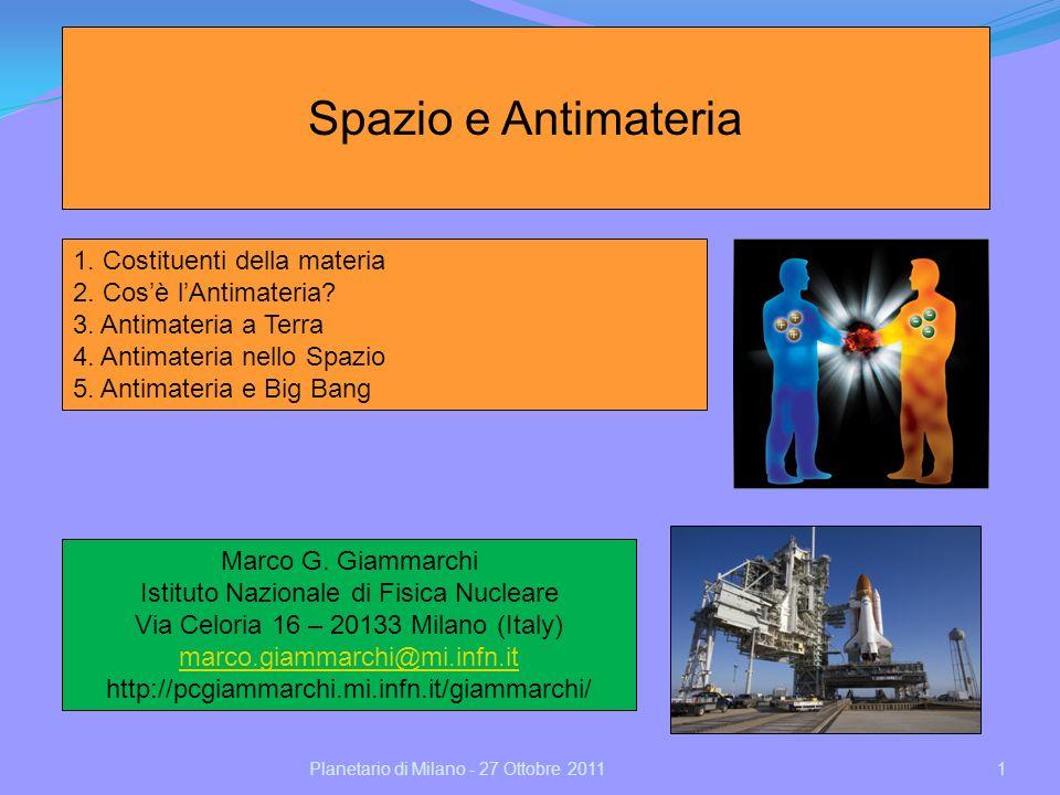 Spazio e Antimateria 1. Costituenti della materia