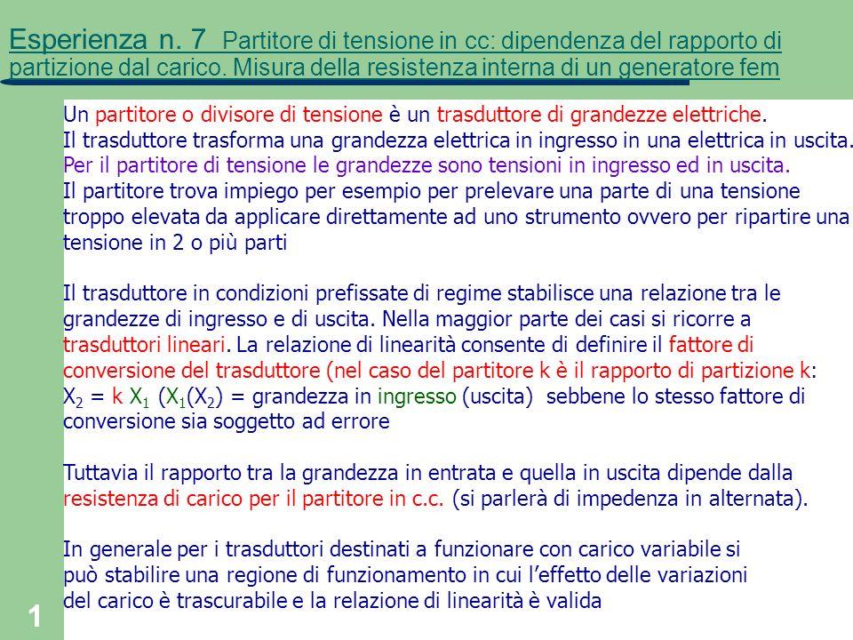 Esperienza n. 7 Partitore di tensione in cc: dipendenza del rapporto di partizione dal carico. Misura della resistenza interna di un generatore fem