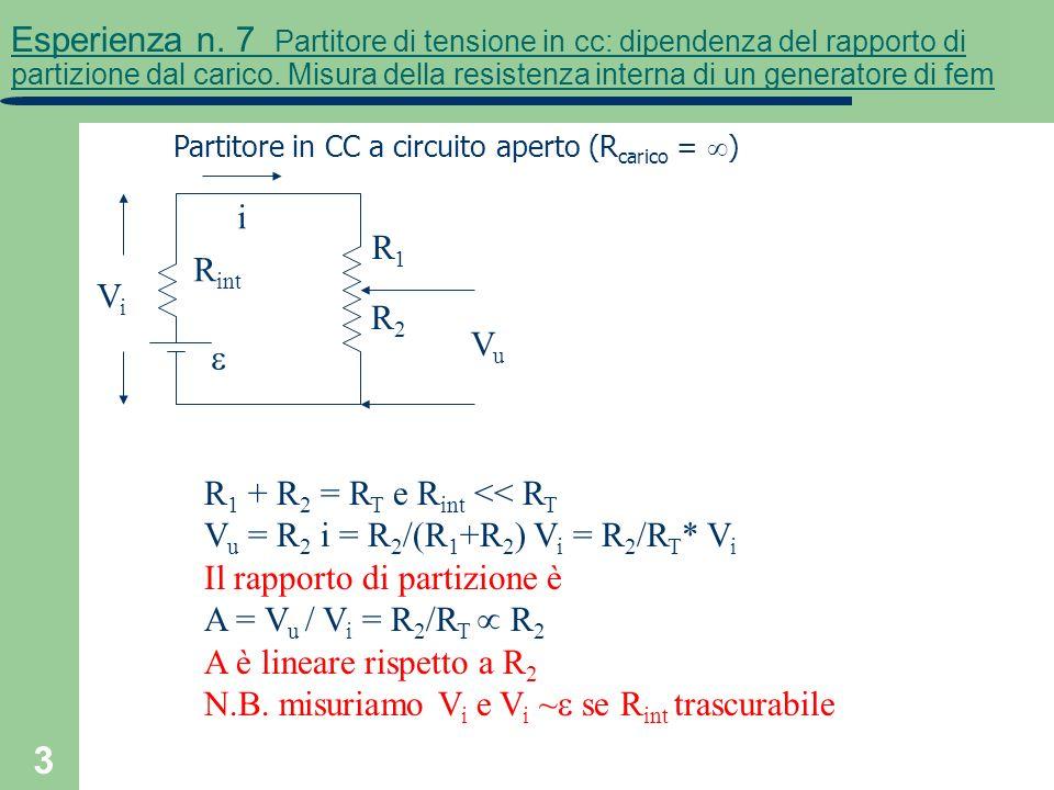 R1 + R2 = RT e Rint << RT Vu = R2 i = R2/(R1+R2) Vi = R2/RT* Vi