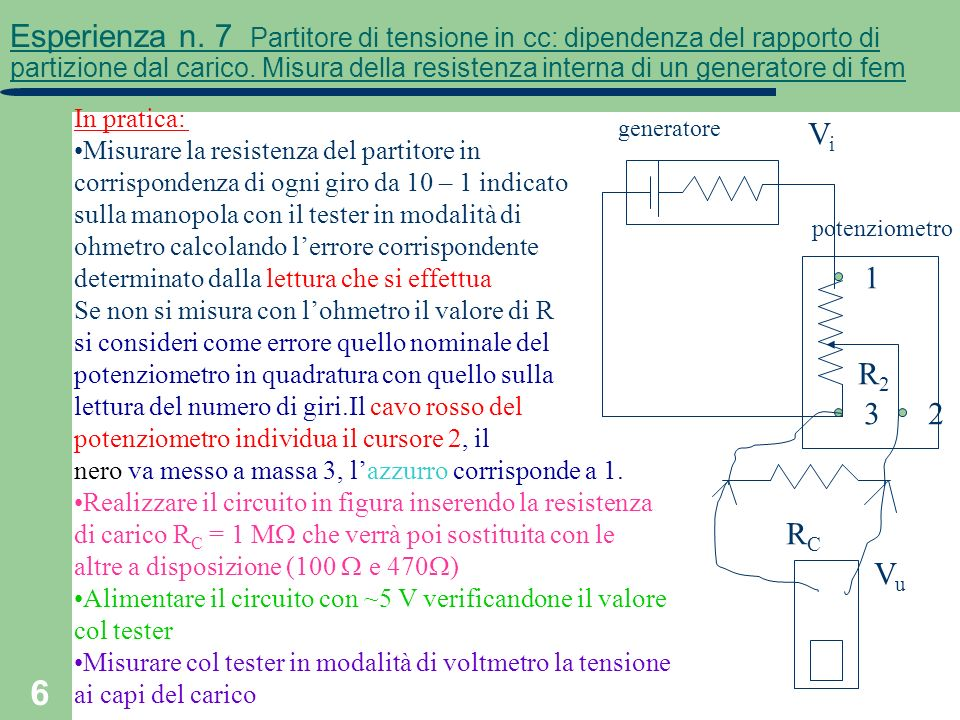 Esperienza n. 7 Partitore di tensione in cc: dipendenza del rapporto di partizione dal carico. Misura della resistenza interna di un generatore di fem