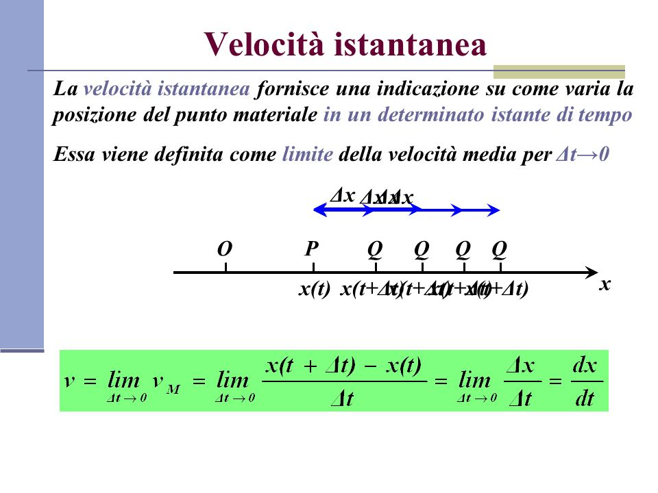 Velocità istantanea La velocità istantanea fornisce una indicazione su come varia la posizione del punto materiale in un determinato istante di tempo.