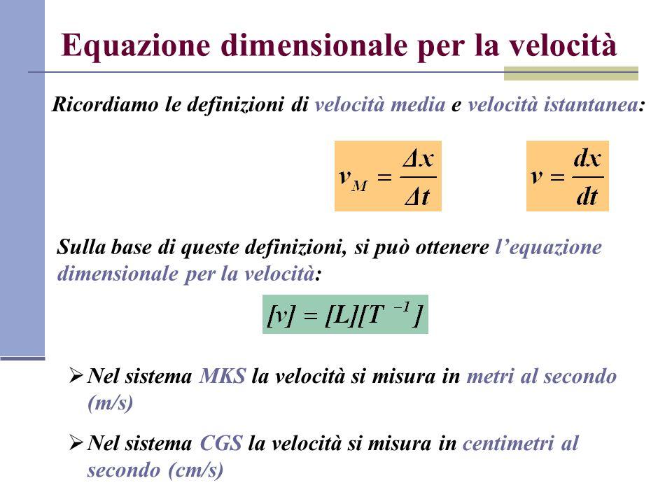 Equazione dimensionale per la velocità
