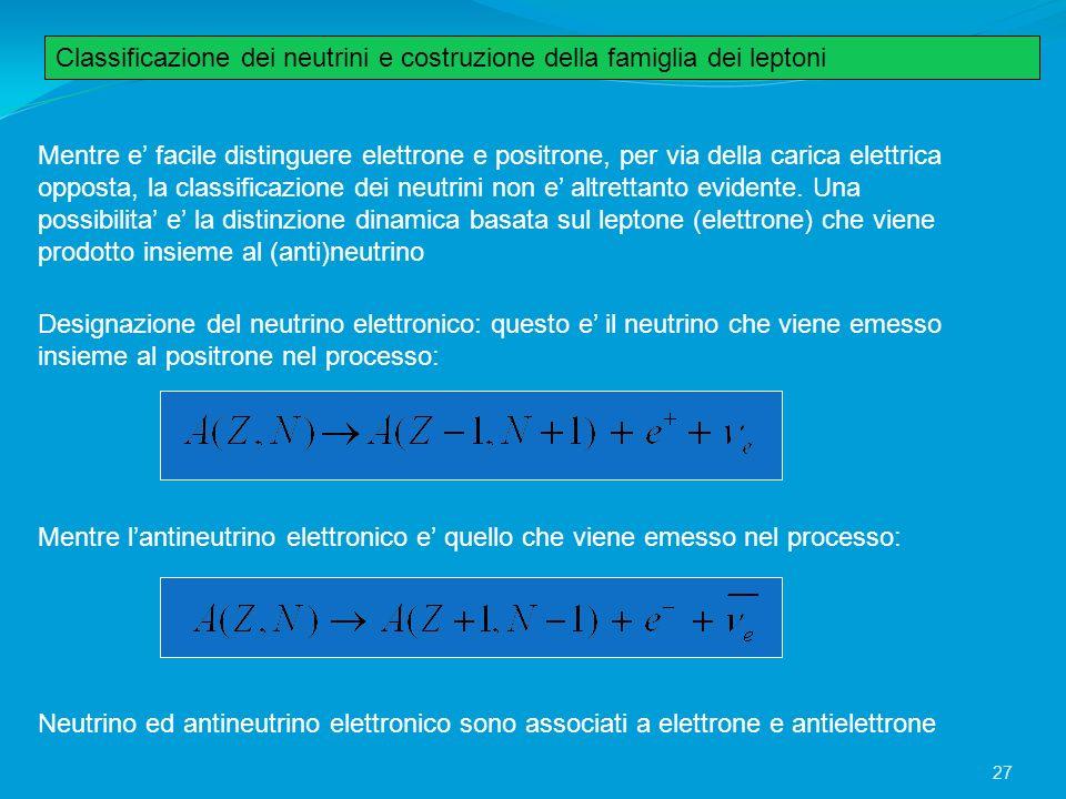 Classificazione dei neutrini e costruzione della famiglia dei leptoni