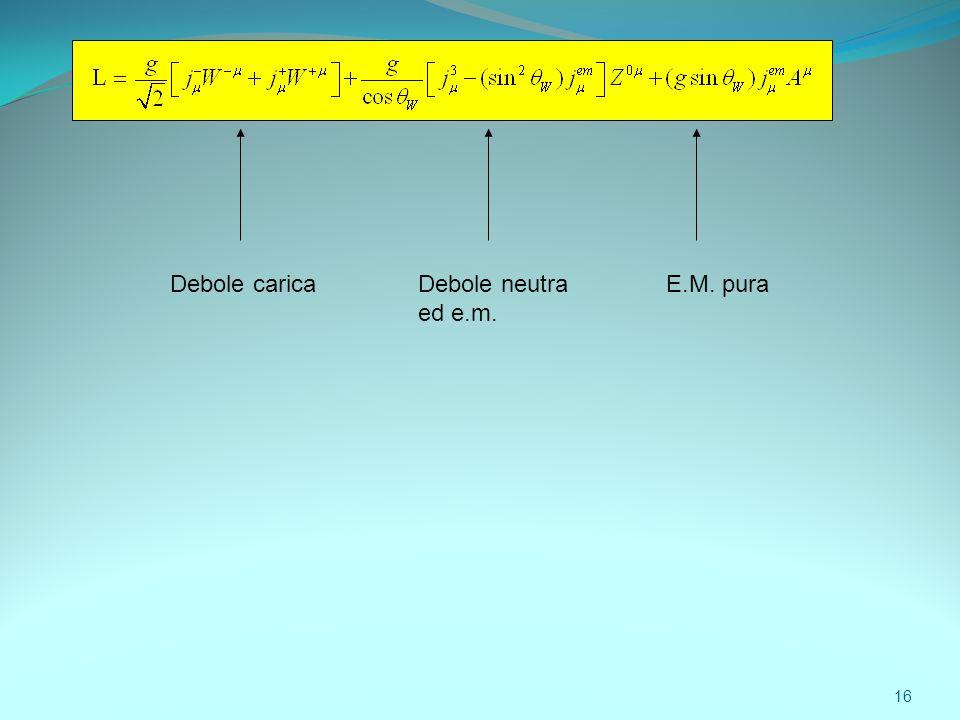 Debole carica Debole neutra ed e.m. E.M. pura