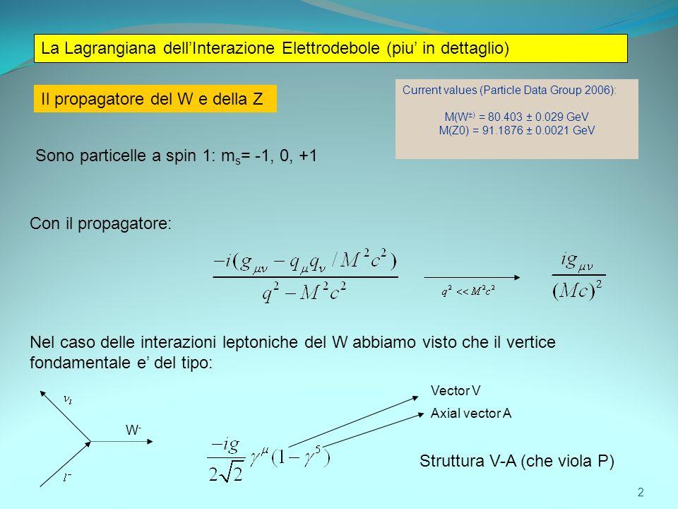 La Lagrangiana dell'Interazione Elettrodebole (piu' in dettaglio)