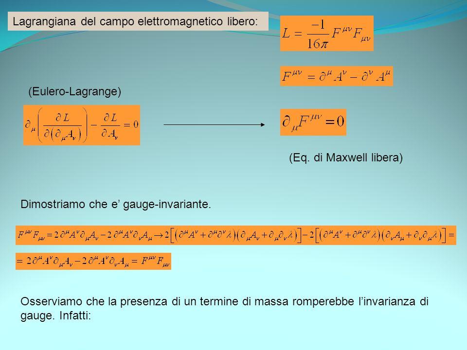 Lagrangiana del campo elettromagnetico libero: