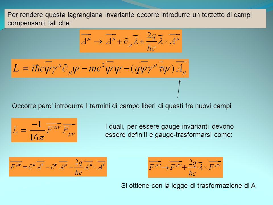 Per rendere questa lagrangiana invariante occorre introdurre un terzetto di campi compensanti tali che: