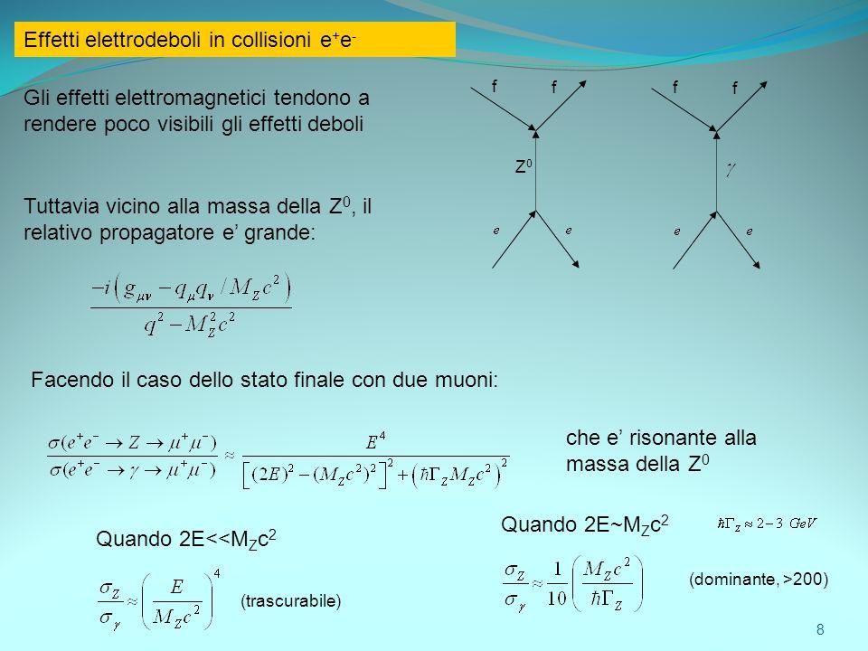 Effetti elettrodeboli in collisioni e+e-