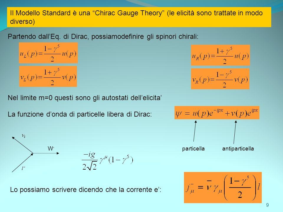 Partendo dall'Eq. di Dirac, possiamodefinire gli spinori chirali: