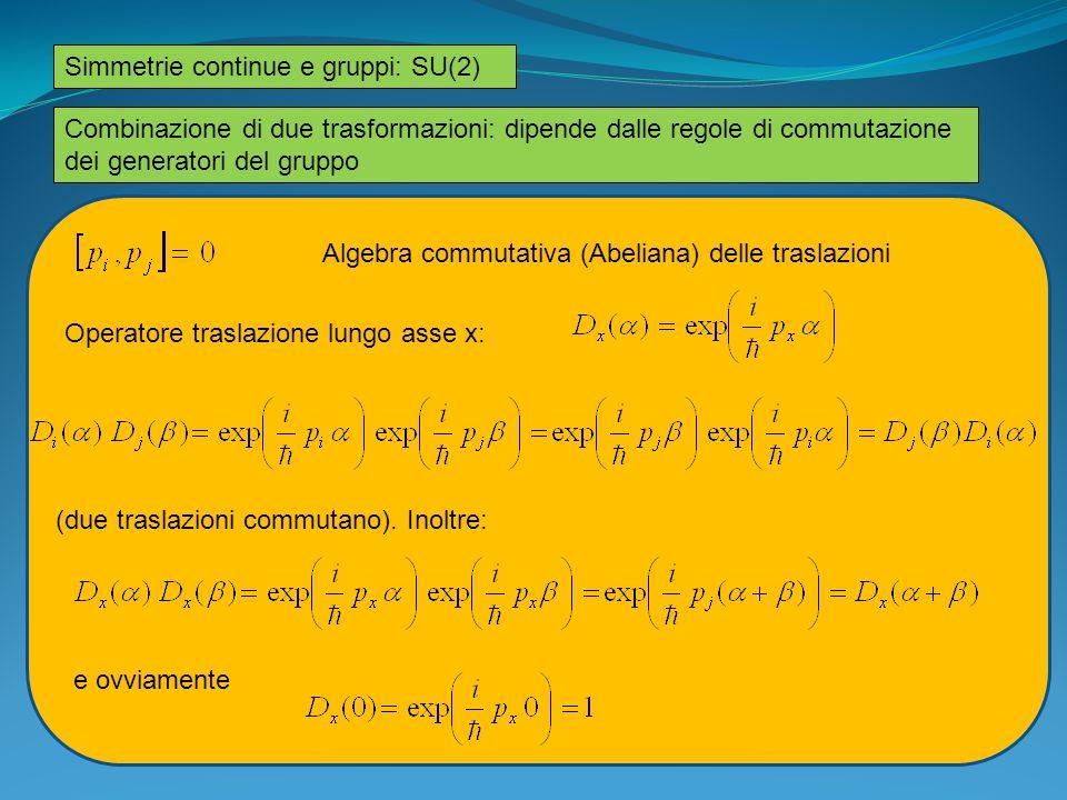 Simmetrie continue e gruppi: SU(2)