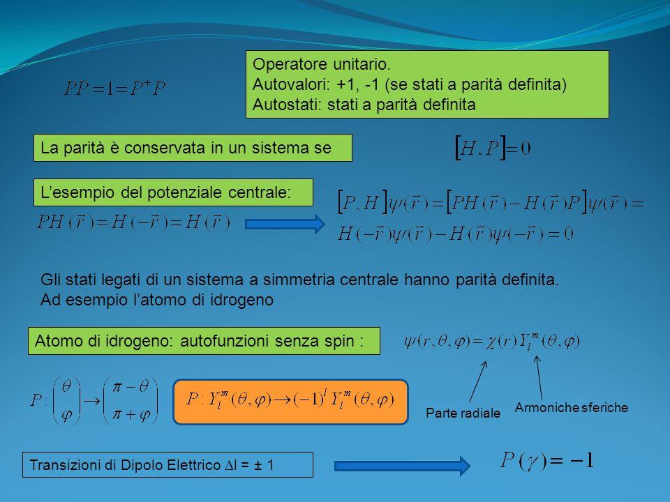 Autovalori: +1, -1 (se stati a parità definita)