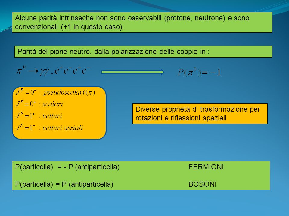 Alcune parità intrinseche non sono osservabili (protone, neutrone) e sono convenzionali (+1 in questo caso).
