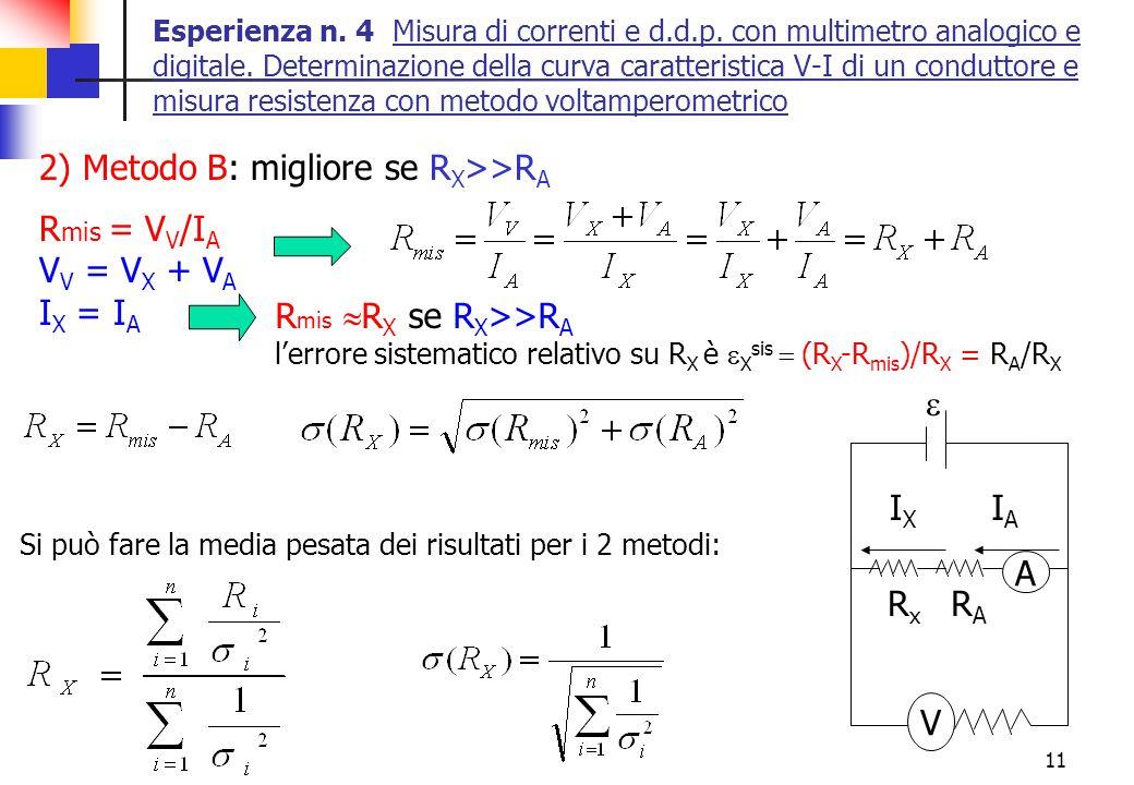 2) Metodo B: migliore se RX>>RA