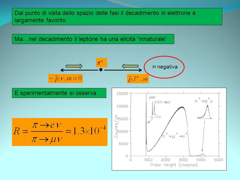 Ma…nel decadimento il leptone ha una elicità innaturale