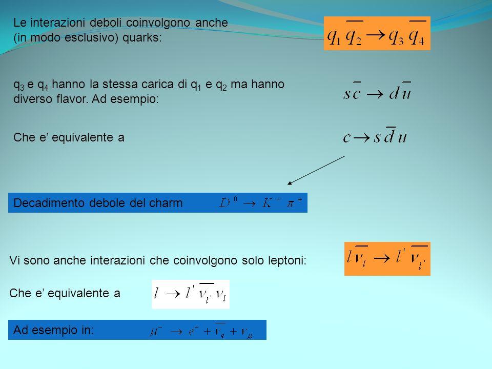 Le interazioni deboli coinvolgono anche (in modo esclusivo) quarks: