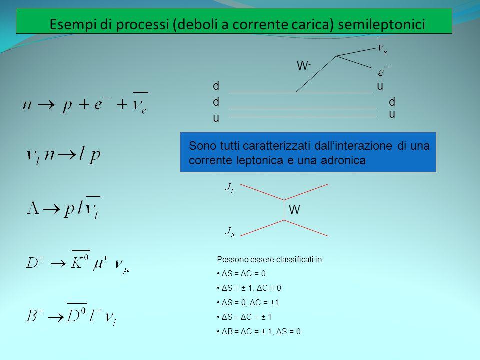 Esempi di processi (deboli a corrente carica) semileptonici