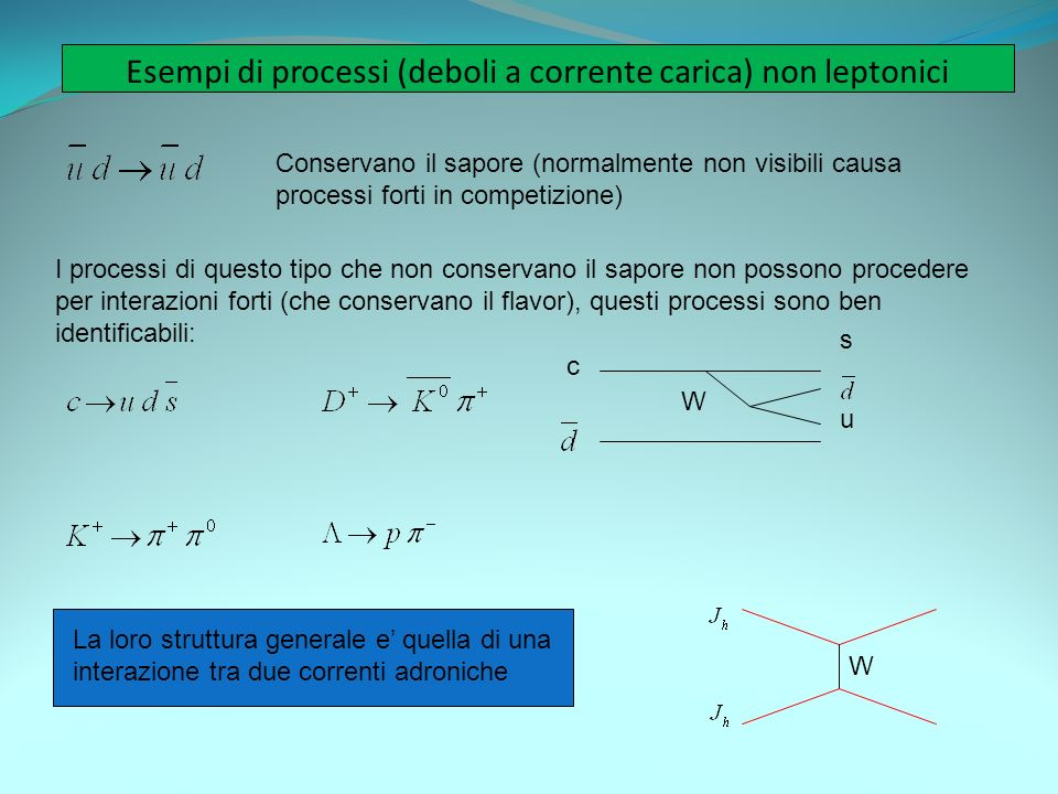 Esempi di processi (deboli a corrente carica) non leptonici