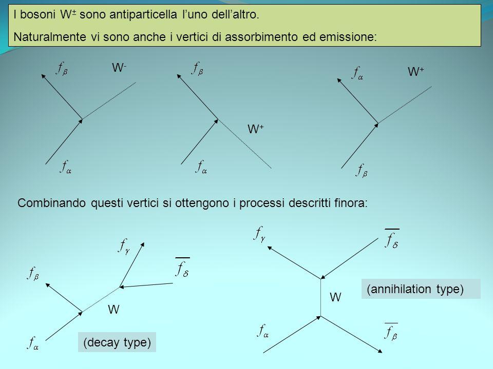 I bosoni W± sono antiparticella l'uno dell'altro.