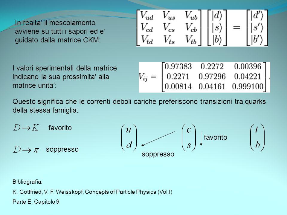 In realta' il mescolamento avviene su tutti i sapori ed e' guidato dalla matrice CKM: